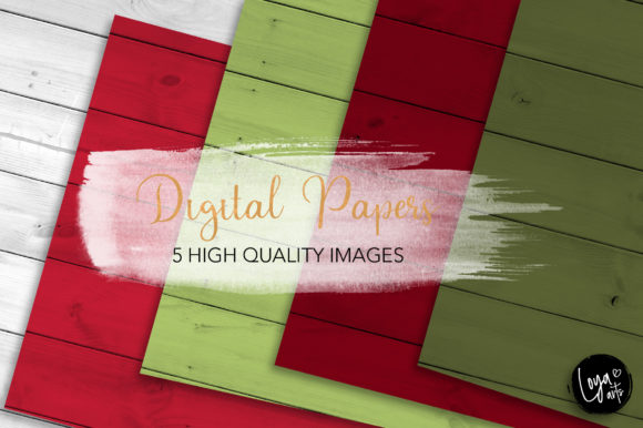Print on Demand: Christmas Wood Texture Set Graphic Backgrounds By loyaarts