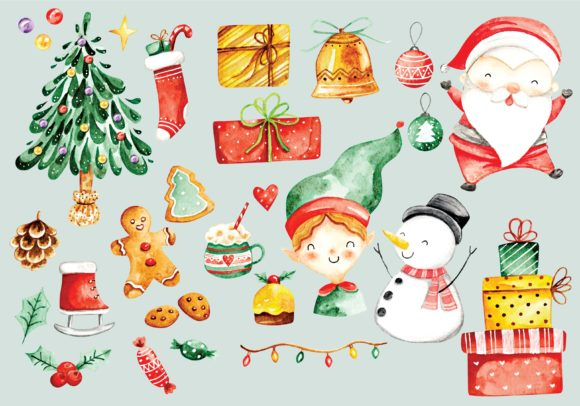 Christmas Doodle Set Water Color Style Graphic Illustrations By Big Barn Doodles