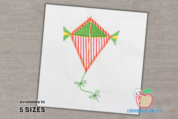 Colorful Flying Kite Applique Design Toys & Games Embroidery Design By embroiderydesigns101