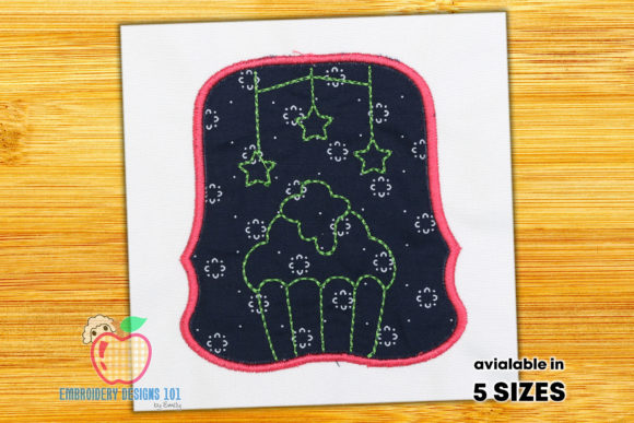 Cup Cake with the Stars Applique Food & Dining Embroidery Design By embroiderydesigns101