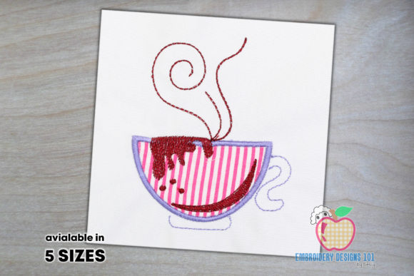 Cup with the Hot Coffee Tea & Coffee Embroidery Design By embroiderydesigns101