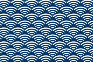 Print on Demand: Curve White Blue Square Pattern Graphic Patterns By noory.shopper