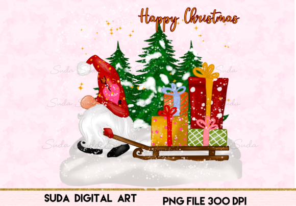 Print on Demand: Cute Christmas Gnomes Gift Sublimation Graphic Illustrations By Suda Digital Art