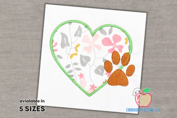 Design of Heart with the Paw Footprint Dogs Embroidery Design By embroiderydesigns101