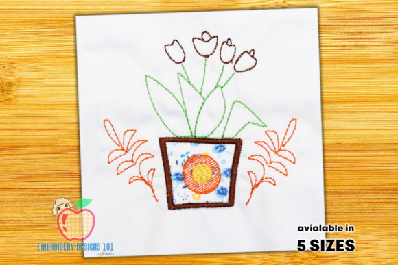 Designed Pot of Flowers Single Flowers & Plants Embroidery Design By embroiderydesigns101
