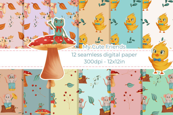 Print on Demand: Digital Paper Woodland Animals Seamless Graphic Illustrations By StudioAngelArts