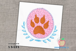 Foot Print of the Dog Applique Dogs Embroidery Design By embroiderydesigns101