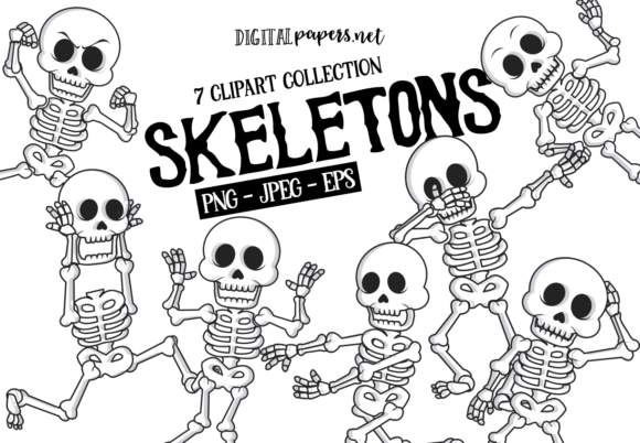 Print on Demand: Funny Skeletons Graphic Illustrations By DigitalPapers