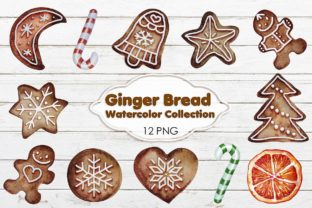 Gingerbreads Watercolor Christmas Graphic Illustrations By DoodleBox