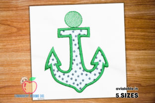 Green Colored Big Anchor Hook Applique Beach & Nautical Embroidery Design By embroiderydesigns101