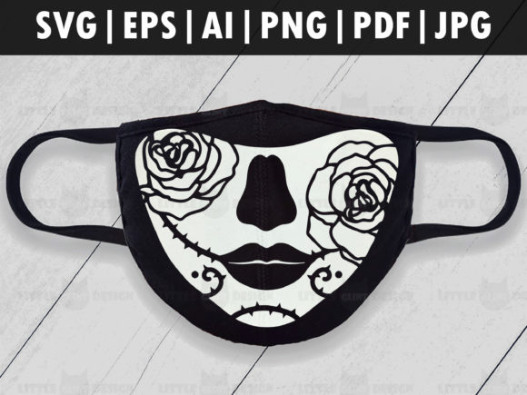 Halloween Rose Mask, Skull Face Mask Graphic Crafts By Glint Design