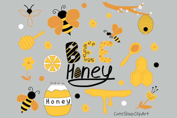 Honey Bee Clipart Graphic Illustrations By CuteShopClipArt