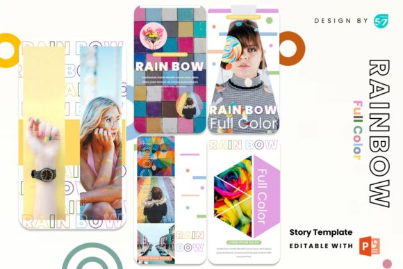 Instagram Stories Template - Rainbow Graphic Presentation Templates By 57creative