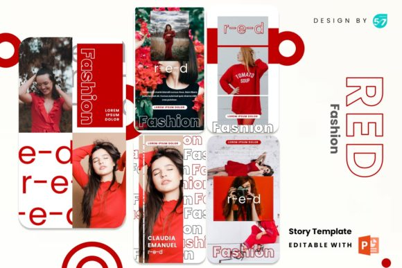 Instagram Stories Template - Red Fashion Graphic Presentation Templates By 57creative