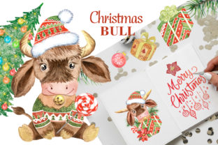 New Years Bull Watercolor Clipart. 2021 Graphic Illustrations By EvArtPrint