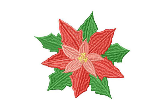 Print on Demand: Poinsettia Christmas Star Single Flowers & Plants Embroidery Design By EmbArt