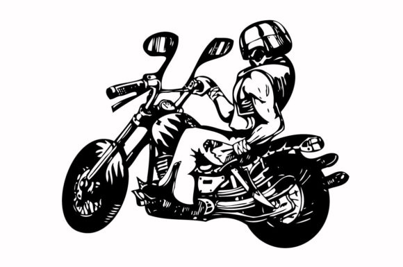 Print on Demand: Riding Motorbike Graphic Desaign Gráfico Iconos Por nisakaart