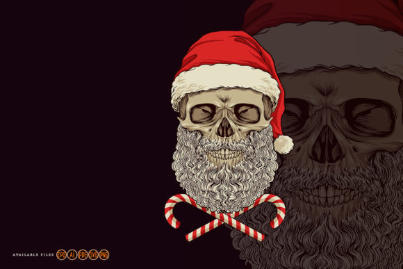 Print on Demand: Skull Santa Claus Mascot Merry Christmas Graphic Illustrations By artgrarisstudio