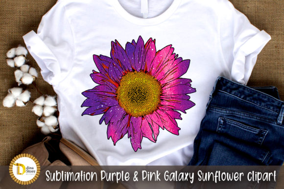 Sublimation  Pink Galaxy Sunflower Graphic Crafts By dina.store4art