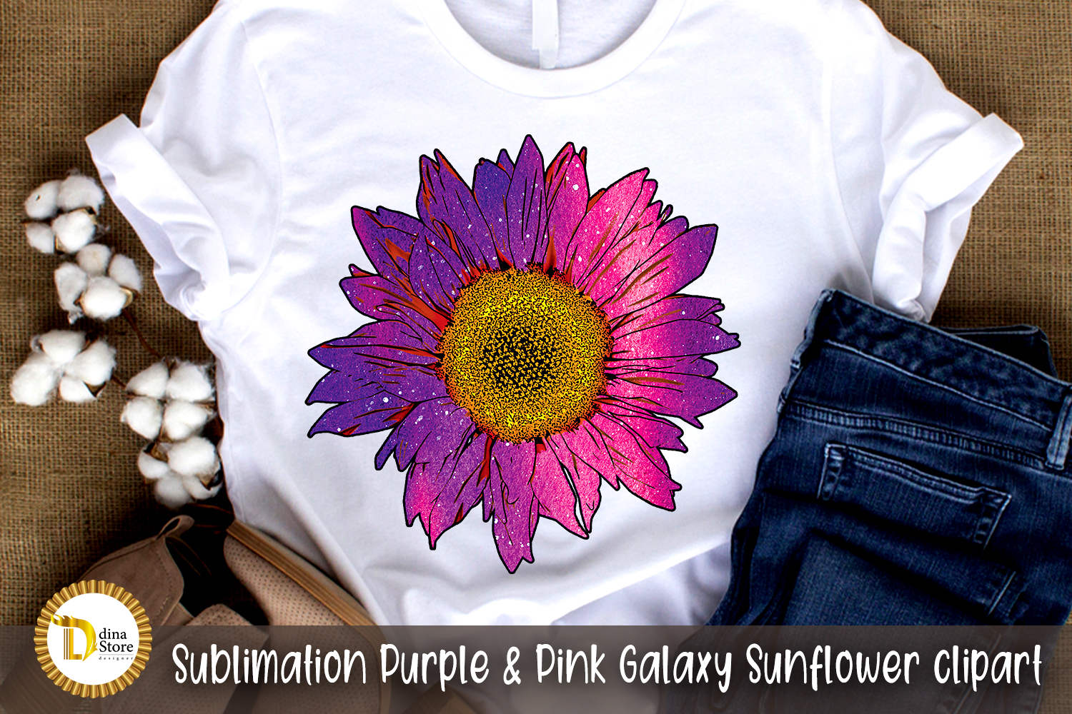 Sublimation Pink Galaxy Sunflower SVG File