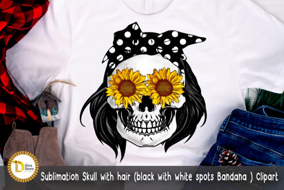 Sublimation Skull Black with White Spots Graphic Crafts By dina.store4art