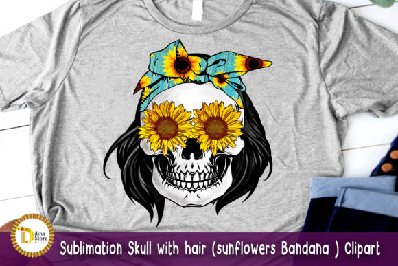 Sublimation Skull with Hair Sunflowers Graphic Crafts By dina.store4art