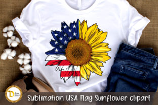 Sublimation USA Flag Sunflower Clipart Graphic Crafts By dina.store4art