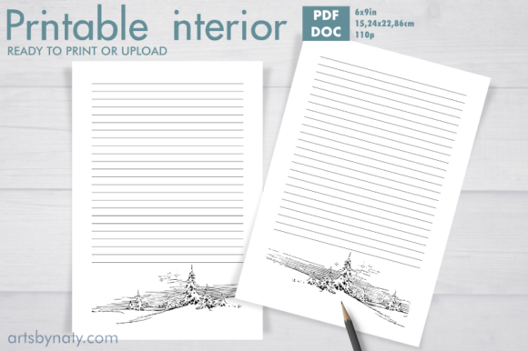 Print on Demand: The Winter Lined Journal KDP Interior. Graphic KDP Interiors By artsbynaty