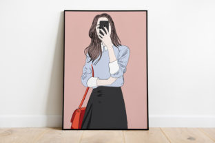 Print on Demand: Wall Art a Girl with a Handheld Camera Graphic Illustrations By Saydung89