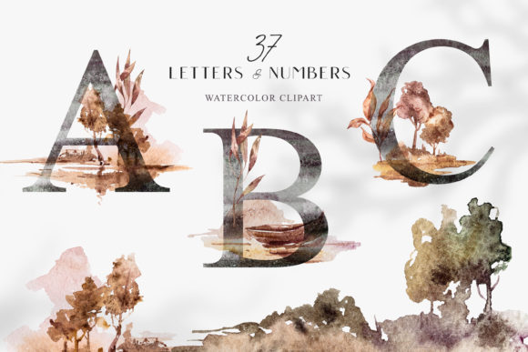 Print on Demand: Watercolor Alphabet Clipart. Floral Font Graphic Illustrations By Tiana Geo