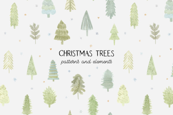 Watercolor Christmas Trees. Cliparts Graphic Patterns By Slastick