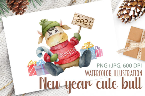 Print on Demand: Watercolor New Year Cute Bull Graphic Illustrations By Alena Yasneva