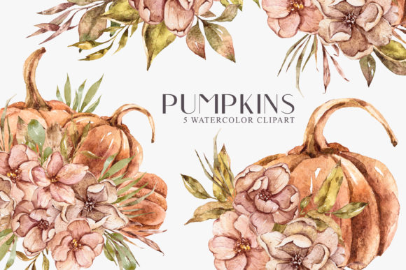 Watercolor Pumpkin Bouquet Clipart Graphic Illustrations By Tiana Geo