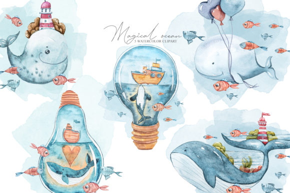 Watercolor Whale Clipart. Underwater Set Graphic Illustrations By Tiana Geo