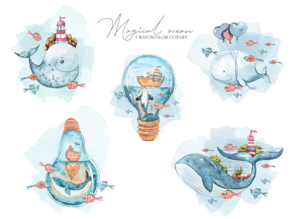 Watercolor Whale Clipart. Underwater Set Graphic Download