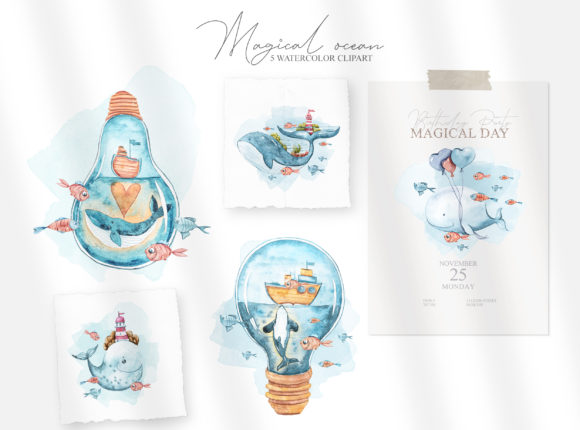 Watercolor Whale Clipart. Underwater Set Graphic Item