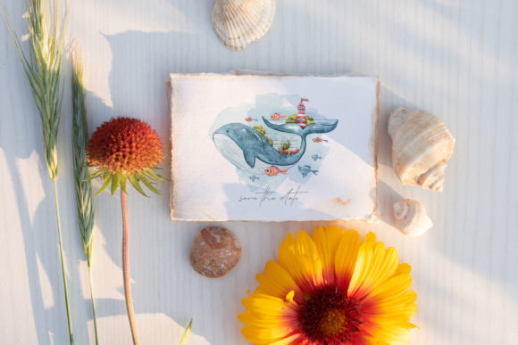 Watercolor Whale Clipart. Underwater Set Graphic Popular Design