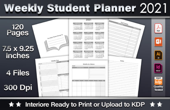 Weekly Student Planner 2021 Graphic KDP Interiors By okdecoconcept