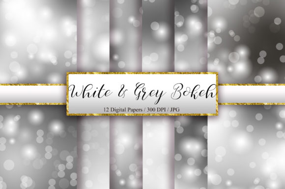 White and Grey Bokeh Background Graphic Backgrounds By PinkPearly