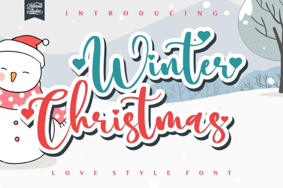 Print on Demand: Winter Christmas Script & Handwritten Font By letterenastudios
