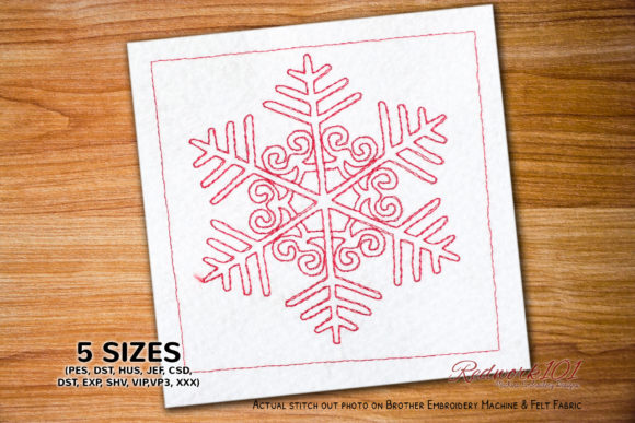 Winter Snowflake Christmas Embroidery Design By Redwork101