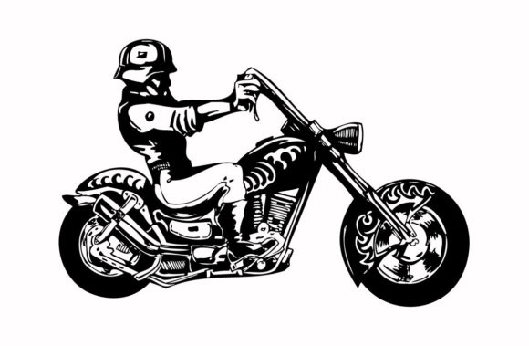Print on Demand: Army Riding Motorbike Graphic Icons By nisakaart