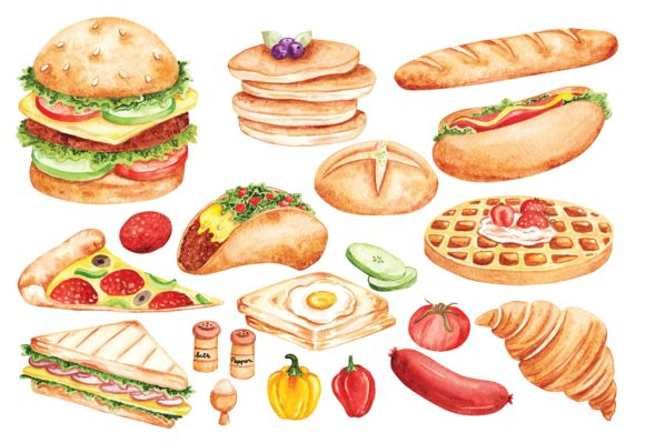 Fast Food Doodle in Watercolor Vector Graphic Illustrations By Big Barn Doodles