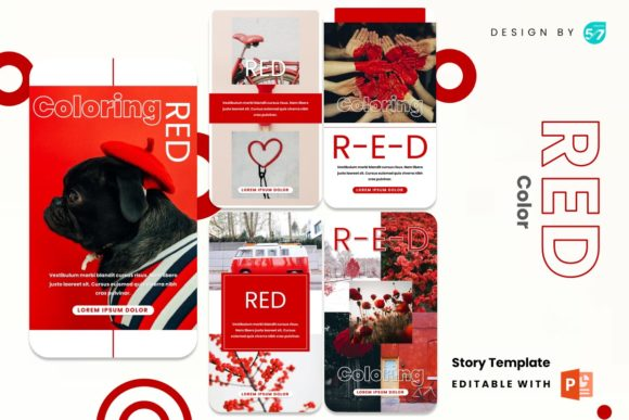 Instagram Stories Template - Red Color Graphic Presentation Templates By 57creative
