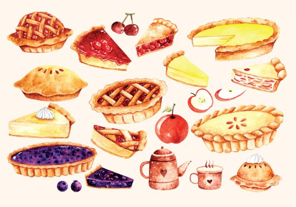 Pie Cake in Water Color Style Vector Graphic Illustrations By Big Barn Doodles
