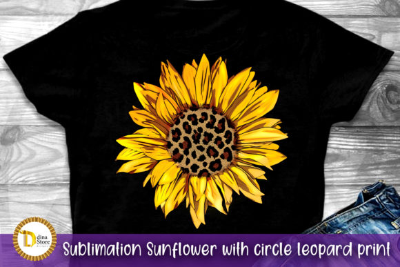 Sublimation Sunflower Circle Leopard Graphic Crafts By dina.store4art