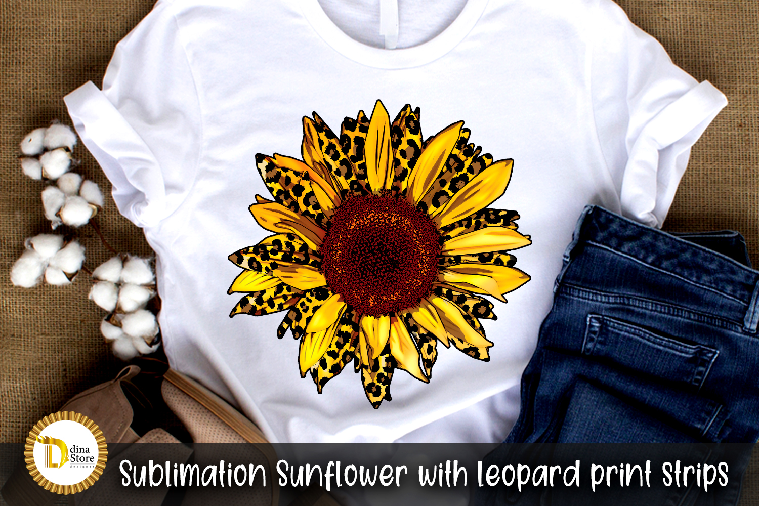 Sublimation Sunflower with Leopard Print SVG File