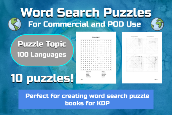 10 Word Search Puzzles   Languages Graphic KDP Interiors By Take It And Teach
