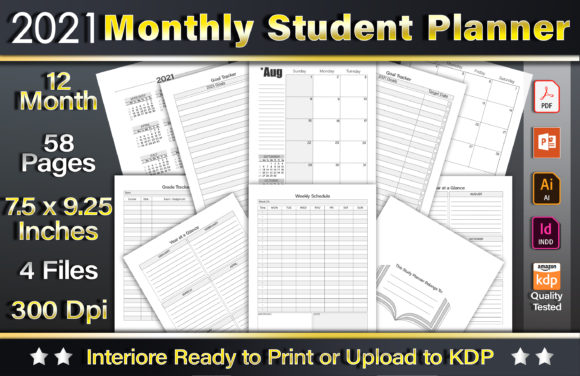 2021 Monthly Student Planner Graphic KDP Interiors By okdecoconcept