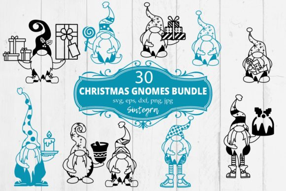 30 Christmas Gnomes Svg Bundle Graphic Download